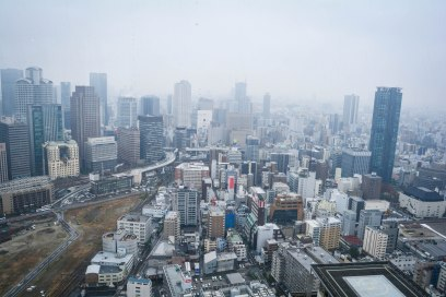 View of Osaka city buildings